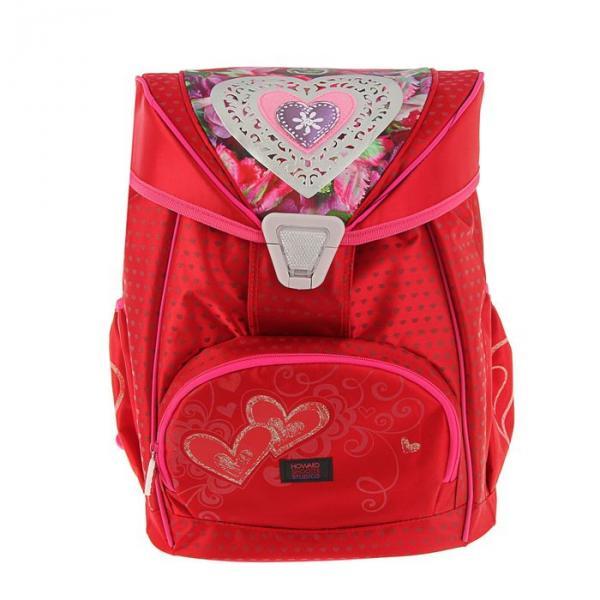 Ранец на замке Proff 36,5*29*18,5 для девочки, «Hearts», красный
