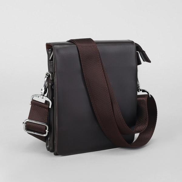 Планшет мужской, 3 отдела, наружный карман, длинный ремень, цвет коричневый
