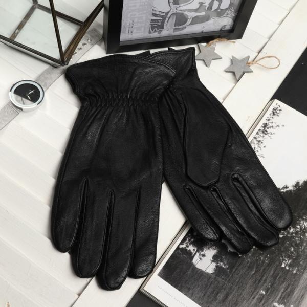 Перчатки мужские, резинка, подклад - искусственный мех, р-р 11, цвет чёрный