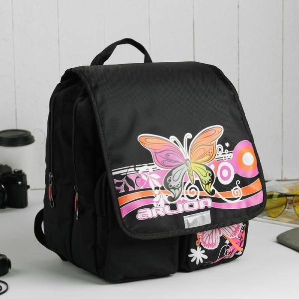Рюкзак детский на молнии, 2 отдела, 2 наружных кармана, цвет чёрный