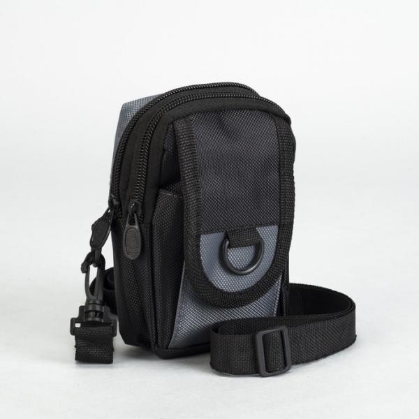 Сумка поясная, 2 отдела, наружный карман, длинный ремень, цвет чёрный/серый