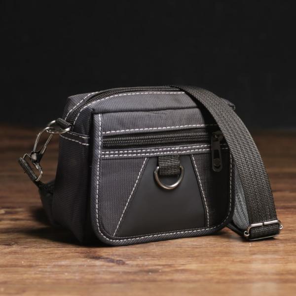 Сумка поясная на молнии, 1 отдел, 2 наружных кармана, с ручкой, цвет чёрный