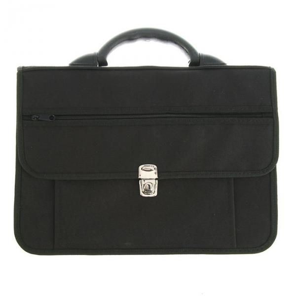 Портфель деловой ткань 380х270х15 мм «Павловск» чёрный