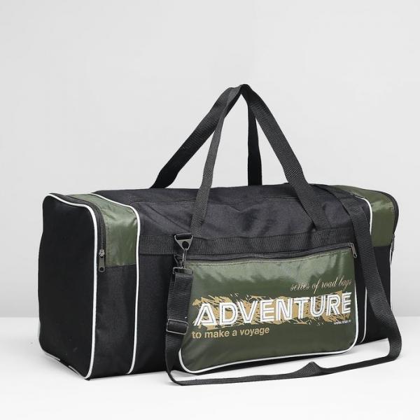 Сумка спортивная, отдел на молнии, 3 наружных кармана, цвет чёрный/зелёный