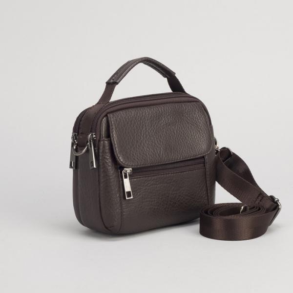 Сумка поясная на молнии, 2 отдела, 2 наружных кармана, длинный ремень, цвет коричневый