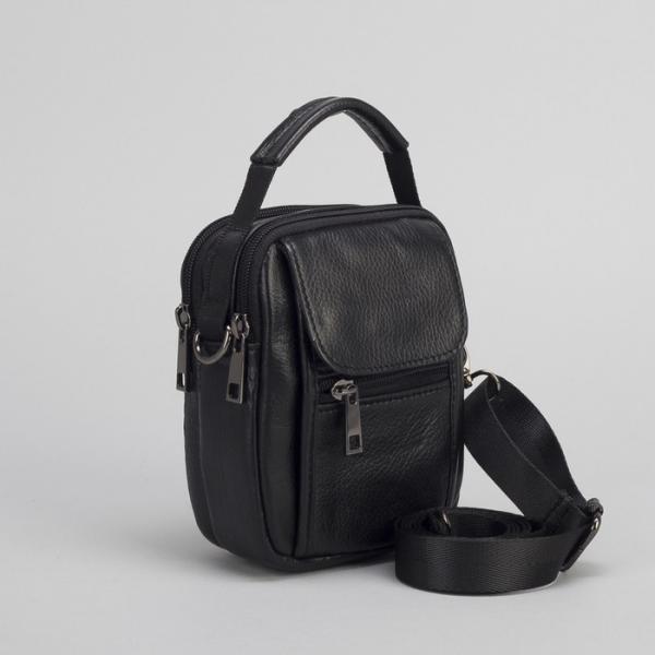 Сумка поясная на молнии, 2 отдела, наружный карман, длинный ремень, цвет чёрный
