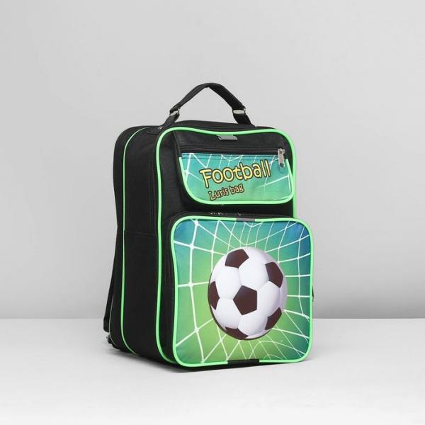 Рюкзак школьный, 2 отдела на молниях, 2 наружных кармана, цвет чёрный/зелёный