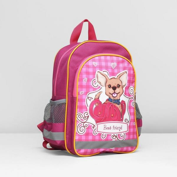 Рюкзак школьный на молнии, 1 отдел, 3 наружных кармана, цвет розовый