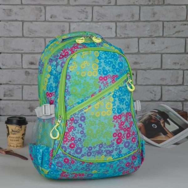 Рюкзак школьный, отдел на молнии, 2 наружных кармана, 2 боковые сетки, цвет зелёный