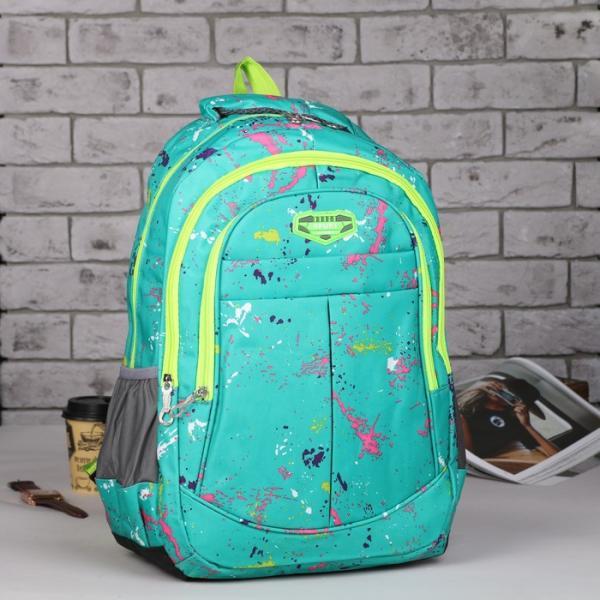 Рюкзак школьный, отдел на молнии, 3 наружных кармана, 2 боковые сетки, усиленная спинка, цвет бирюзовый