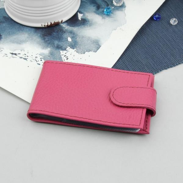 Визитница на кнопке, 1 ряд, флотер, цвет розовый