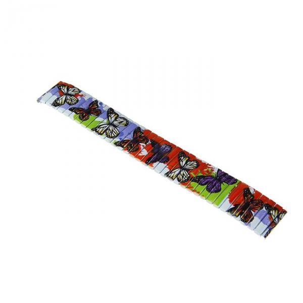 Ремешок для часов 18 мм, металл, рисунок бабочки, 15 см