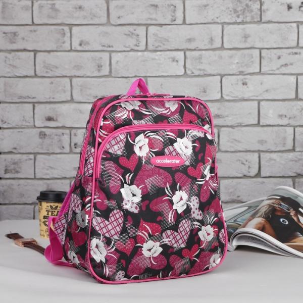 Рюкзак молодёжный, отдел на молнии, наружный карман, усиленная спинка, цвет розовый/чёрный