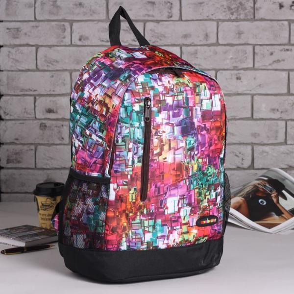 Рюкзак школьный, отдел на молнии, наружный карман, 2 боковых сетки, цвет разноцветный
