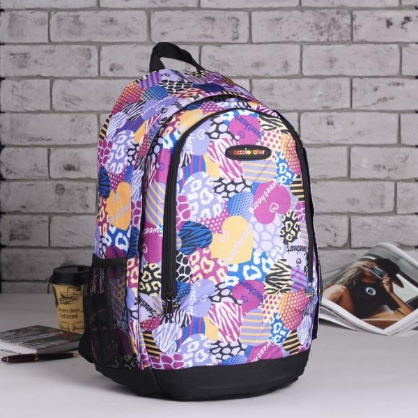 Рюкзак школьный, отдел на молнии, наружный карман, 2 боковых сетки, цвет фиолетовый