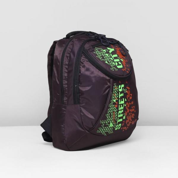 Рюкзак школьный, 2 отдела на молниях, наружный карман, цвет коричневый/зелёный