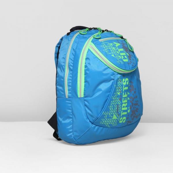 Рюкзак школьный, 2 отдела на молниях, наружный карман, цвет голубой