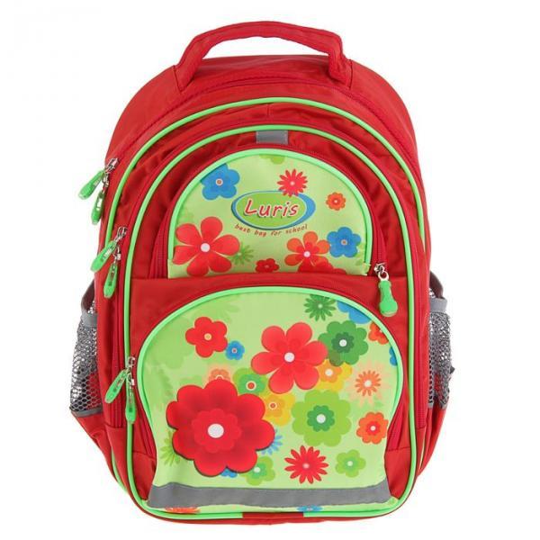 Рюкзак школьный с эргономической спинкой Luris Пиноккио 36x23x13 см для девочки, «Цветы»