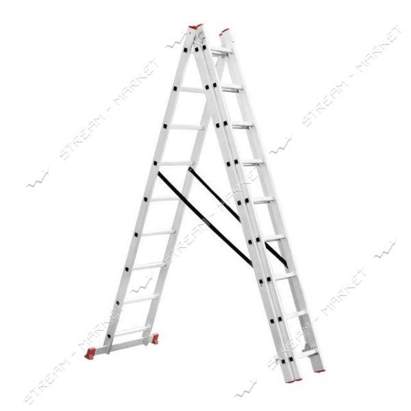 Лестница INTERTOOL LT-0309 алюминиевая 3-х секционная универсальная раскладная 3*9ступ. 5.93м
