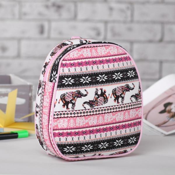 """Рюкзак детский """"Слоны"""", отдел на молнии, цвет чёрный/розовый"""