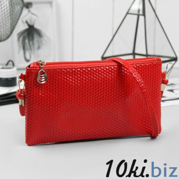 Клатч женский, отдел на молнии, длинный ремень, цвет красный купить в Гродно - Женские сумочки и клатчи