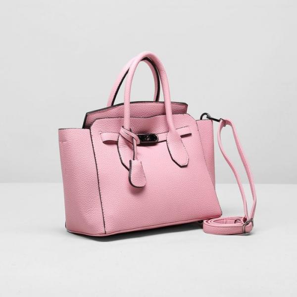 Сумка женская, отдел на молнии, с кошельком, цвет розовый