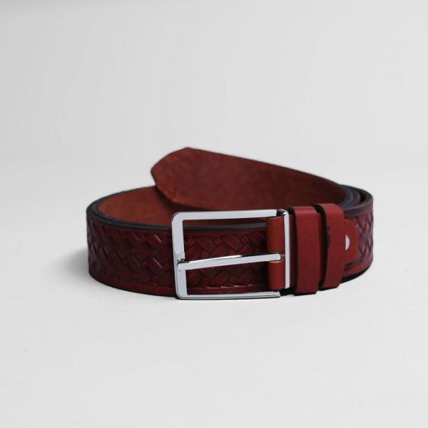 Ремень мужской, плетение, пряжка металл, ширина - 3,5 см, цвет рыжий