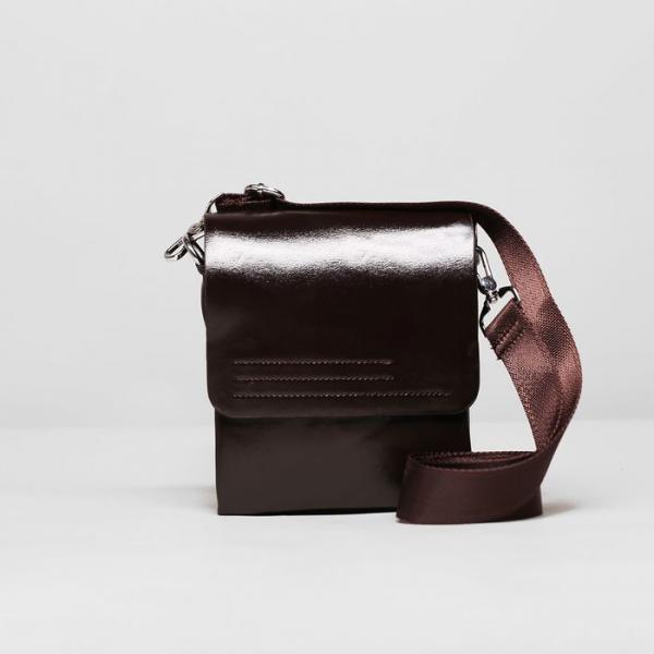 Планшет мужской, 3 отдела, 2 наружных кармана, длинный ремень, цвет коричневый