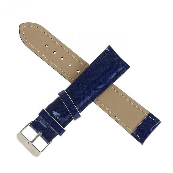 Ремешок для часов, 20мм, лакированная экокожа, синий насыщенный, 19см