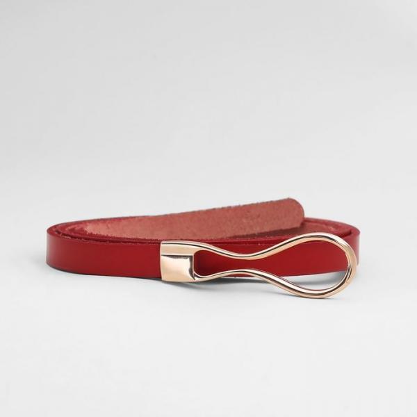 Ремень женский, пряжка золото, ширина - 1,2 см, цвет красный