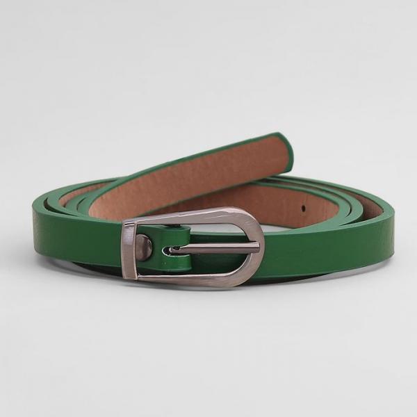 Ремень женский, гладкий, пряжка серебро, ширина - 1 см, цвет зелёный