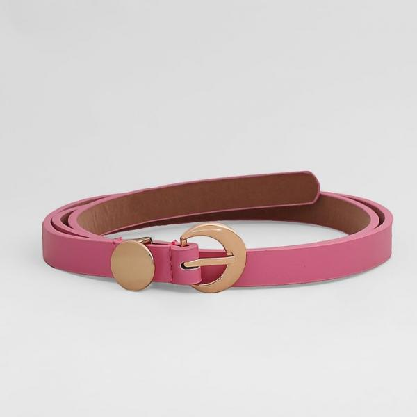 Ремень женский, гладкий матовый, пряжка золото, ширина - 1,5 см, цвет розовый