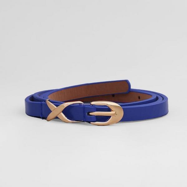 Ремень женский, глянец, пряжка золото, ширина - 1 см, цвет синий