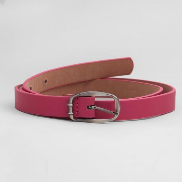 Ремень женский, гладкий матовый, пряжка метал, ширина - 1,8 см, цвет розовый