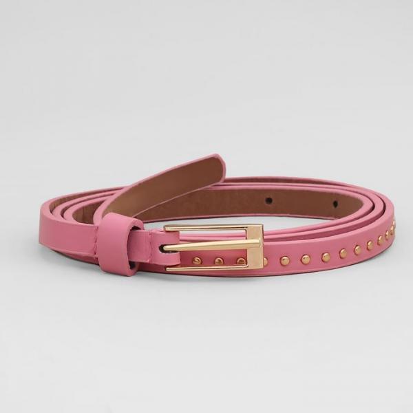 Ремень женский, гладкий матовый, пряжка золото, ширина - 1 см, цвет розовый