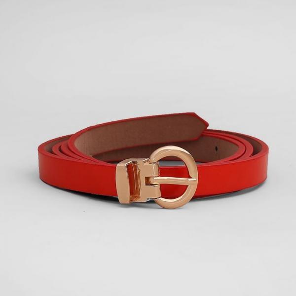Ремень женский, гладкий, пряжка золото, ширина - 1 см, цвет красный