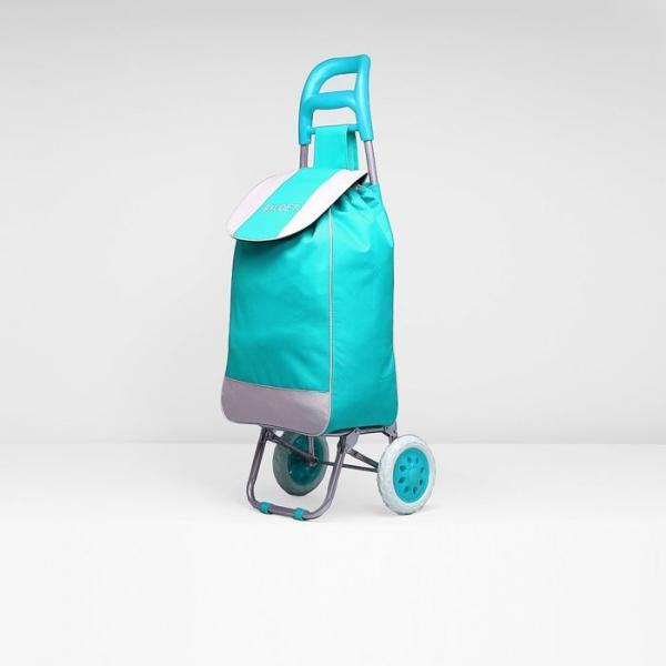 Сумка-тележка, хозяйственная, на колёсах, 33 л, цвет бирюзовый/серый