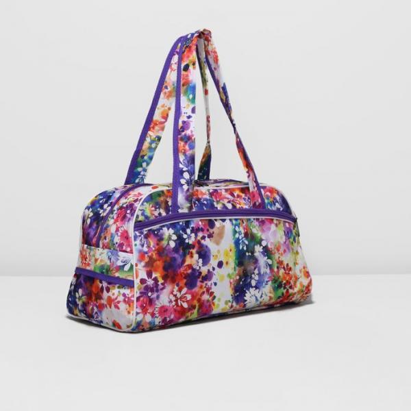 Сумка дорожная, отдел на молнии, наружный карман, цвет фиолетовый/разноцветный