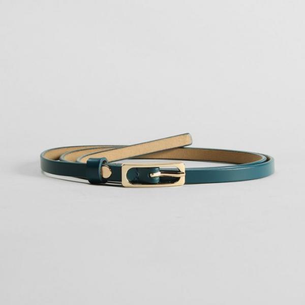 Ремень женский, гладкий, пряжка золото, ширина - 0,9 см, цвет синий