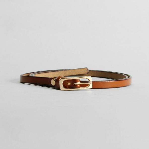 Ремень женский, гладкий, пряжка золото, ширина - 0,9 см, цвет рыжий