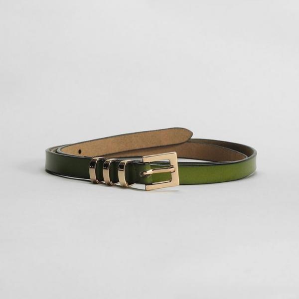 Ремень женский, гладкий, пряжка и хомут золото, ширина - 1,5 см, цвет зелёный