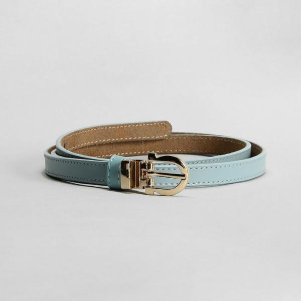Ремень женский, ширина - 1,5 см, пряжка золото, цвет голубой