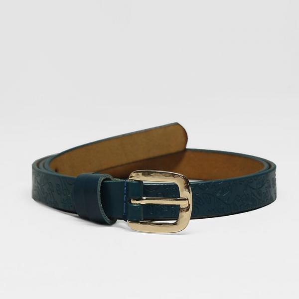 Ремень женский, пряжка золото, ширина - 1,8 см, цвет синий
