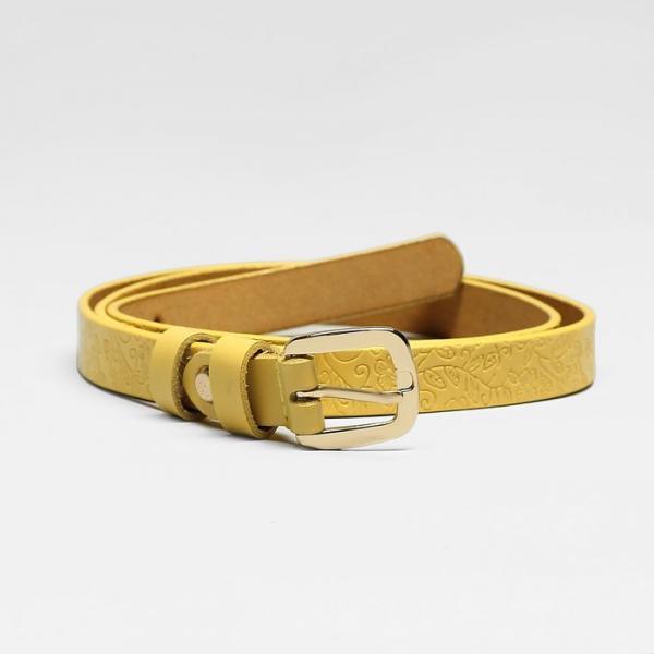 Ремень женский, пряжка золото, ширина - 1,8 см, цвет жёлтый