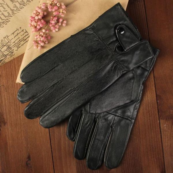 Перчатки мужские, размер 11, с подкладом, цвет чёрный