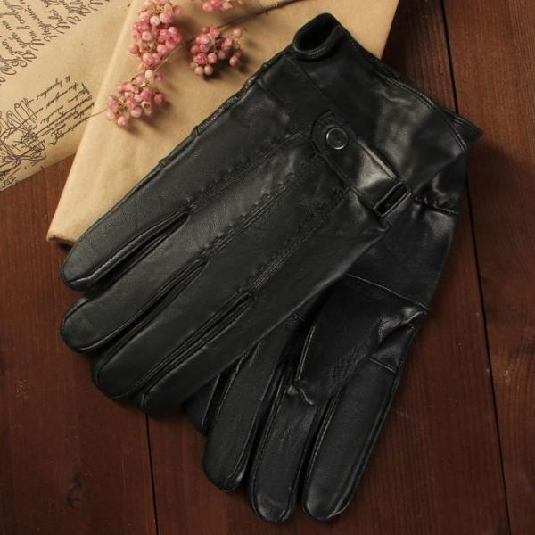 Перчатки мужские, размер 10, с подкладом, цвет чёрный