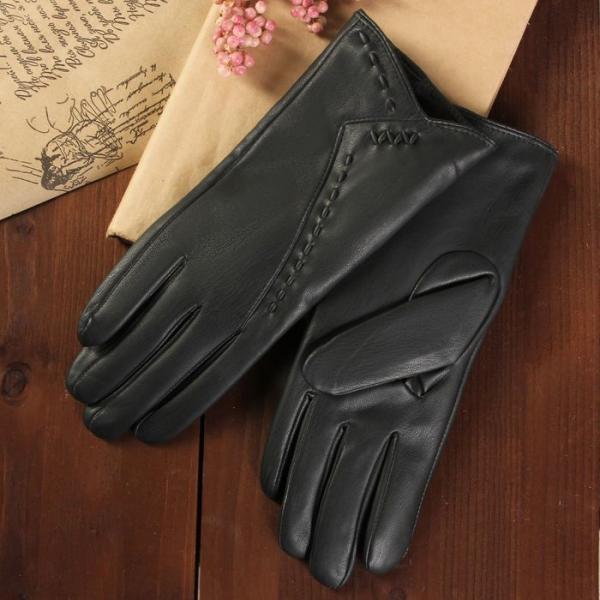 Перчатки женские, размер 8, с подкладом, цвет чёрный