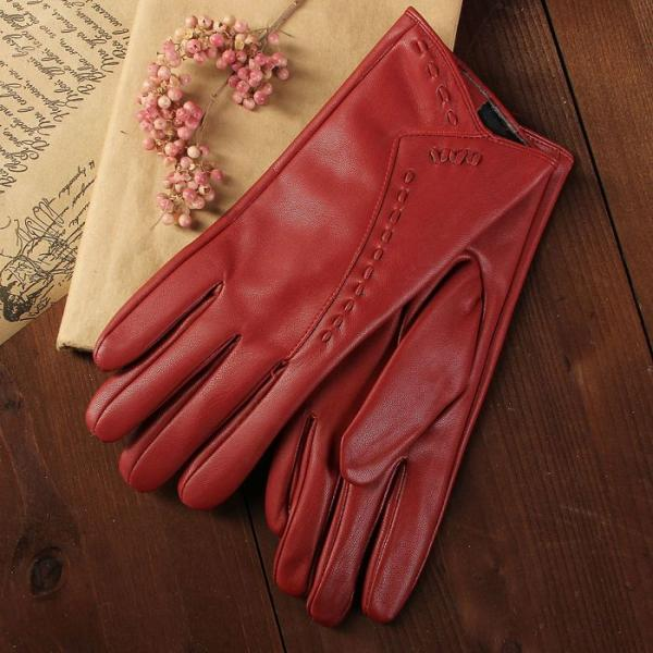 Перчатки женские, размер 6.5, с подкладом, цвет красный