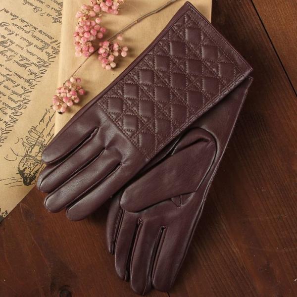 Перчатки женские, размер 6.5, с подкладом, цвет бордовый