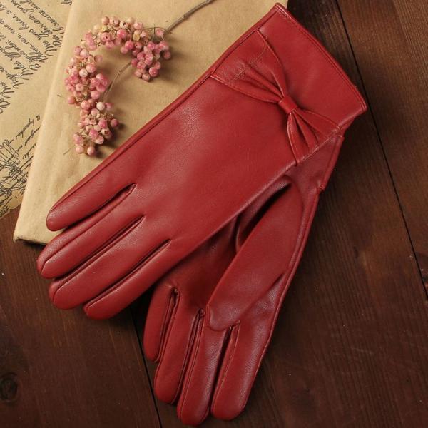 Перчатки женские, размер 8, с подкладом, цвет бордовый